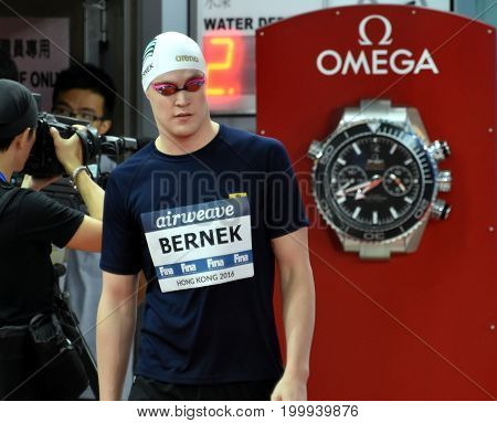 Hong Kong China - Oct 30 2016. Olympian and World Youth gold medalist Peter BERNEK (HUN) at the start of Men's Backstroke 200m Final. FINA Swimming World Cup Victoria Park Swimming Pool.