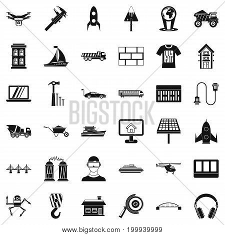 Engineering icons set. Simple style of 36 engineering vector icons for web isolated on white background