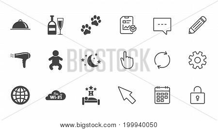 Hotel, apartment service icons. Restaurant sign. Alcohol drinks, wi-fi internet and sleep symbols. Chat, Report and Calendar line signs. Service, Pencil and Locker icons. Click, Rotation and Cursor