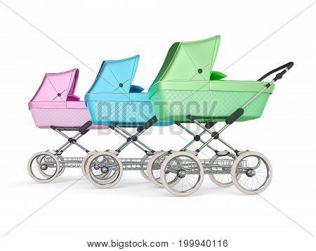 Vintage multi color design baby stroller. 3d illustration