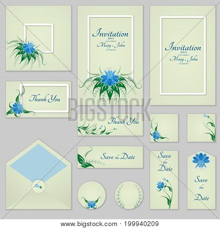 Collection Greeting Cards With Stylized Bells And Frames, Can Be Used As Invitation Card For Wedding