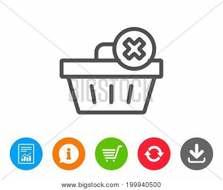 Remove Shopping cart line icon. Online buying sign. Supermarket basket symbol. Report, Information and Refresh line signs. Shopping cart and Download icons. Editable stroke. Vector