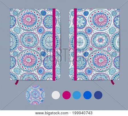 Blue copybook template with elastic band and bookmark with abstract pattern. Australian aboriginal geometric art concentric circles seamless pattern in blue and purple. Mockup. Vector illustration.