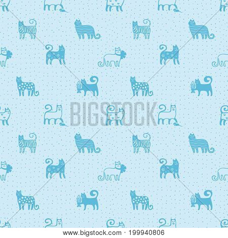 Seamless pattern with cute funny cats. Textile cats background. Monochrome fabric pattern, wrapping. Kitten. Cats background. Cats wallpaper. Vector illustration