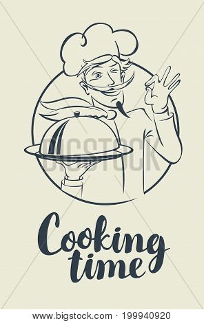 Vector illustration with the inscription Cooking time and a winking chef with a dish in his hands