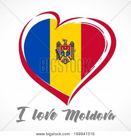 Love Moldova emblem colored. Independence day of Estonia vector background red heart on national flag and text Ilove Moldova