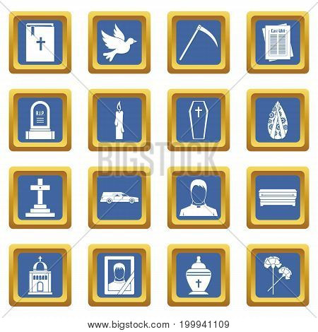 Funeral icons set in blue color isolated vector illustration for web and any design