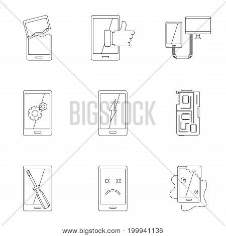 Repair phones fix icon set. Outline style set of 9 repair phones fix vector icons for web isolated on white background