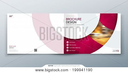 Landscape Brochure design. Magenta corporate business rectangle template brochure, report, catalog, magazine. Brochure layout modern circle shape abstract background. Creative vector concept