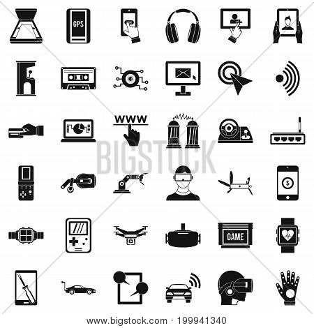 Game adjustment icons set. Simple style of 36 game adjustment vector icons for web isolated on white background