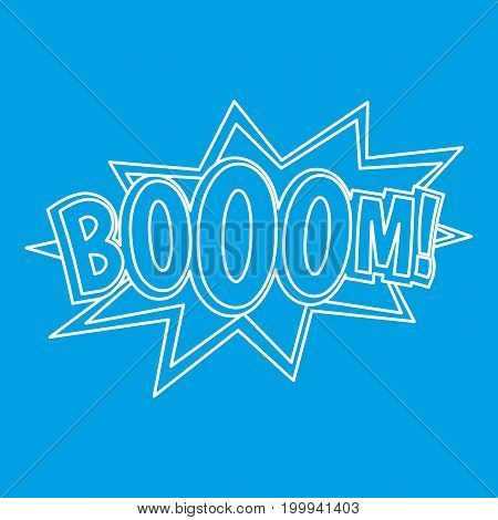 Boom, comic book explosion icon blue outline style isolated vector illustration. Thin line sign