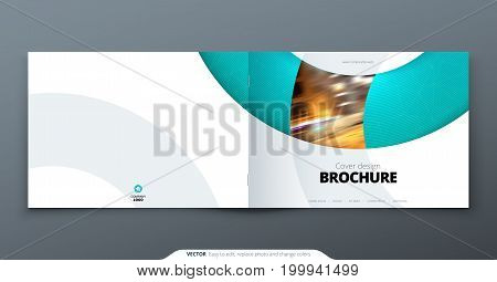 Landscape Brochure design. Teal corporate business rectangle template brochure, report, catalog, magazine. Brochure layout modern circle shape abstract background. Creative brochure vector concept