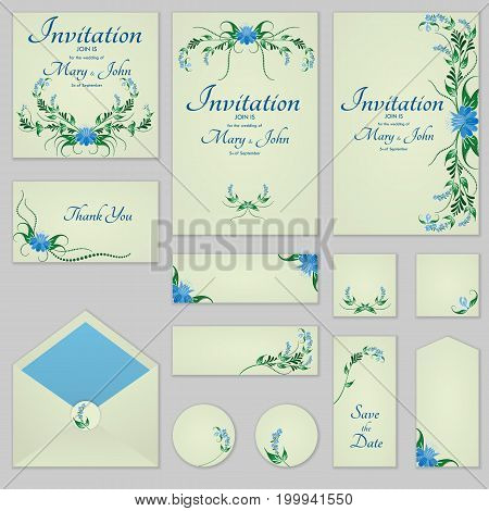 Collection Greeting Cards With Stylized Bells, Can Be Used As Invitation Card For Wedding, Birthday