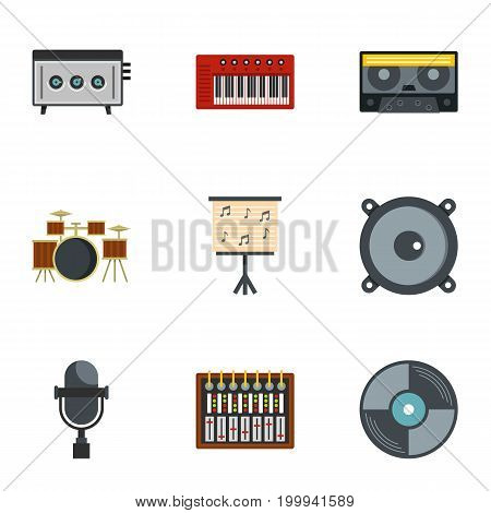 Music equipment icon set. Flat style set of 9 music equipment vector icons for web isolated on white background