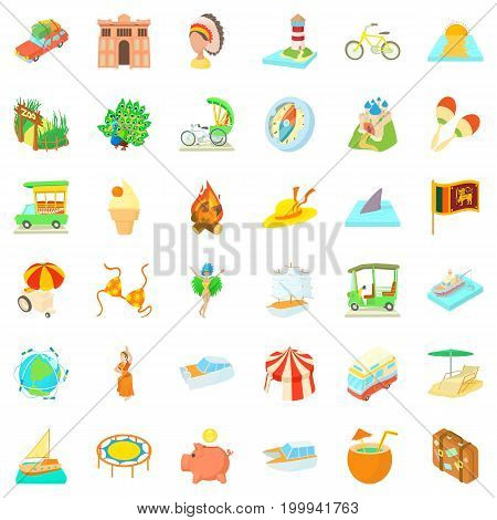 Adventure travel icons set. Cartoon style of 36 adventure travel vector icons for web isolated on white background
