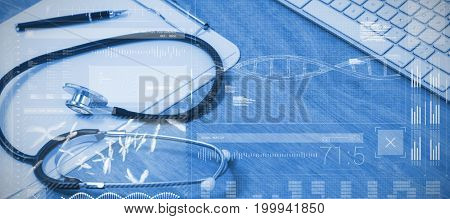 Data science against high angle view of stethoscope with clipboard by wireless keyboard and mouse