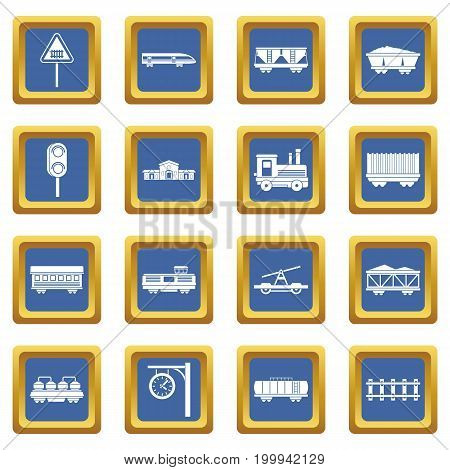 Railway icons set in blue color isolated vector illustration for web and any design