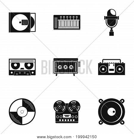Music recording icon set. Simple style set of 9 music recording vector icons for web isolated on white background