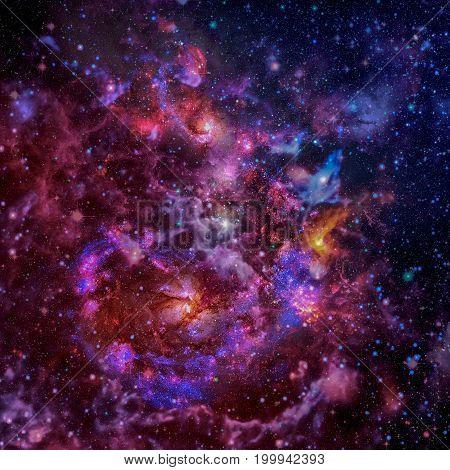 Spiral Galaxy And Space Nebula.