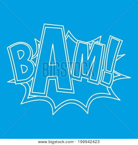 BAM, explosion effect icon blue outline style isolated vector illustration. Thin line sign