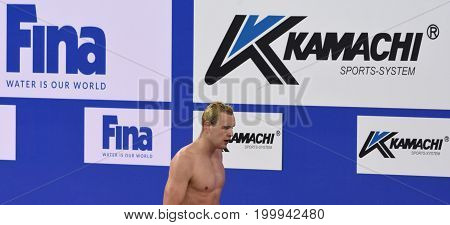 Hong Kong China - Oct 30 2016. Olympian and World Youth gold medalist Peter BERNEK (HUN) after the Men's Backstroke 200m Final. FINA Swimming World Cup Victoria Park Swimming Pool.