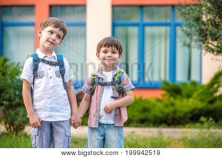 Young Students, Two Sibling Brothers, Going To School.