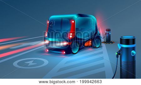Autonomous electric smart bus or minibus charging station. Intelligence city vehicles on car parking. Vehicle refueling, charging batteries. Future concept. VECTOR
