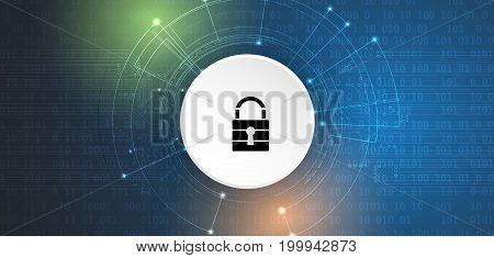 Cyber Security And Information Or Network Protection. Future Technology Web Services For Business An