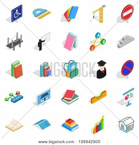 Professor icons set. Isometric set of 25 professor vector icons for web isolated on white background