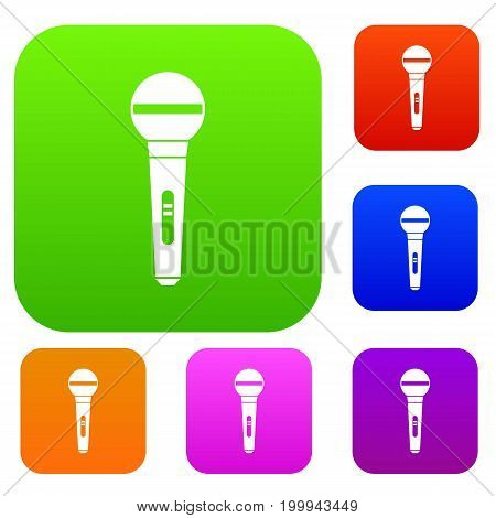 Microphone set icon in different colors isolated vector illustration. Premium collection