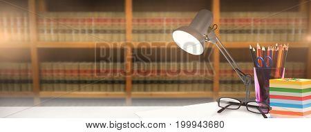 desk against bookshelf in school