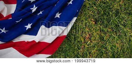 Star shapes on American flag against close-up of grass mat