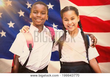 Portrait of students against white background against close-up of us flag