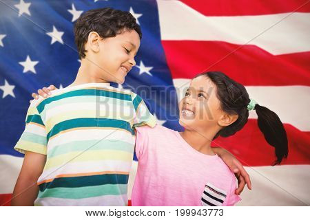 Happy friends against white background against close-up of us flag