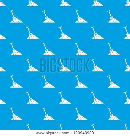 Shovel in coal pattern repeat seamless in blue color for any design. Vector geometric illustration