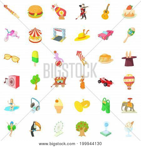 Amusement park icons set. Cartoon style of 36 amusement park vector icons for web isolated on white background