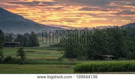 Countryside landscape with sunset . . .
