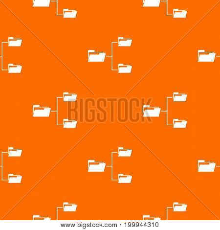 Folders structure pattern repeat seamless in orange color for any design. Vector geometric illustration