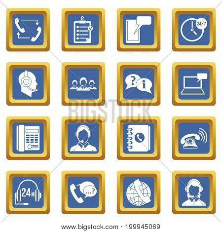 Call center symbols icons set in blue color isolated vector illustration for web and any design
