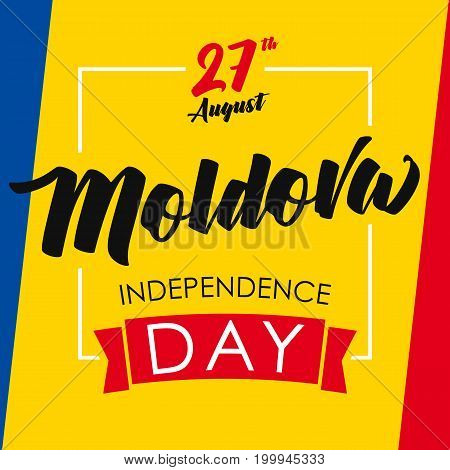 Moldova Independence Day greeting card. Moldova Independence Day vector concept background with national flag colors and greeting text