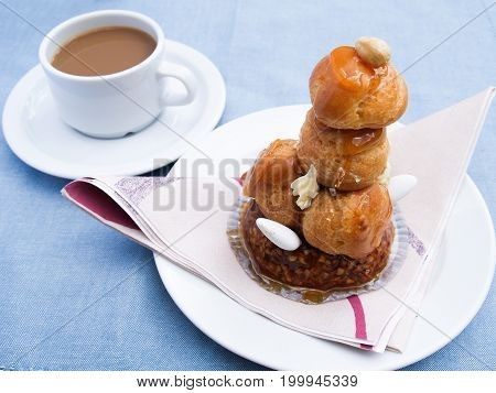 Croquembouche A traditional mini french dessert made with choux pastry