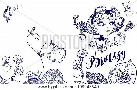 Pretty nerd girl catches butterfly in jar. Cover template for biology. Isolated on white vector illustration