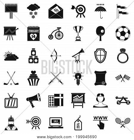 Arrow in target icons set. Simple style of 36 arrow in target vector icons for web isolated on white background