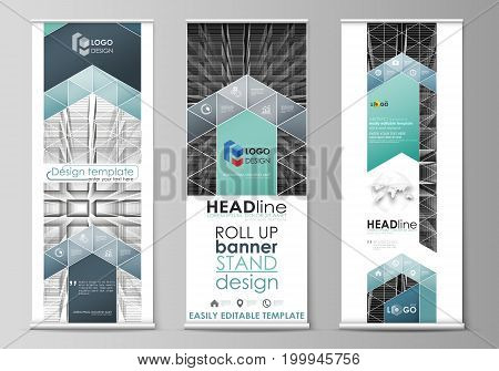 Set of roll up banner stands, flat design templates, abstract geometric style, modern business concept, corporate vertical vector flyers, flag layouts. Abstract infinity background, 3d structure with rectangles forming illusion of depth and perspective.