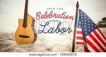 Digital composite image of join celebratio event labor day text against acoustic guitar in sand