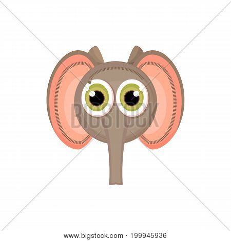 Children's school bag on the straps completely stylized as a cartoon elephant face. Isolated object. Vector illustration cartoon style back to school.