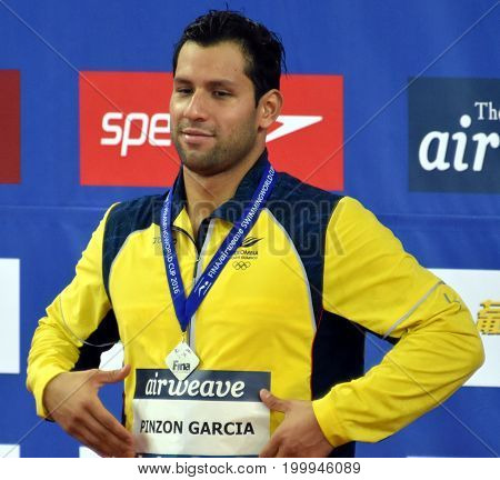 Hong Kong China - Oct 30 2016. PINZON GARCIA Omar (COL) at the Victory Ceremony of the Men's Backstroke 200m. FINA Swimming World Cup.