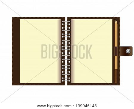 Open spiral notebook paper and wood pencil isolated on white background.