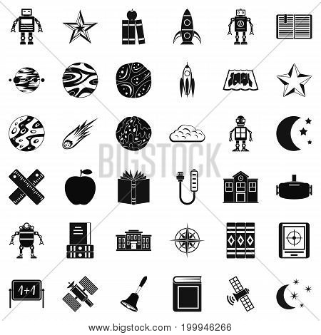 Astronomy science icons set. Simple style of 36 astronomy vector icons for web isolated on white background