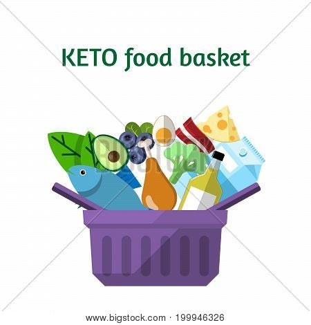 KETO food basket in the flat style for used for wallpaper printing on the packaging paper textiles.